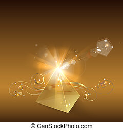 Golden pyramid.  illustration.