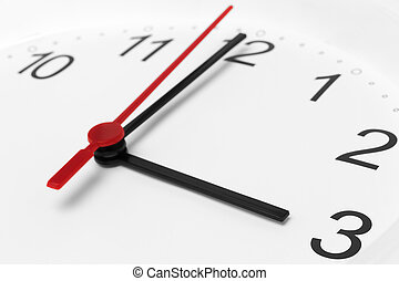Clock face showing business working time on white background