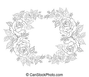 Silhouette of rose with sample text.  illustration.