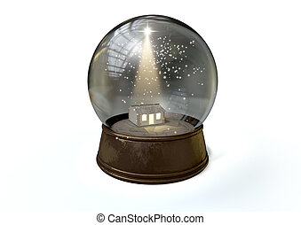 Snow Globe Nativity Scene White - A regular snow globe...