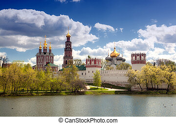 View of the Novodevichy Convent in Moscow in the spring