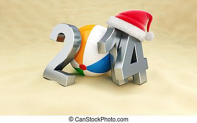 new year 2014 on the beach, beach ball, santa het