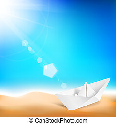 Beautiful background with a summer sea and ship - Summer...