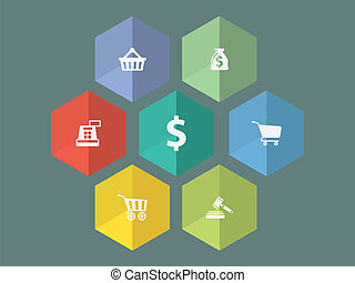 Flat design ecommerce icons in editable vector format