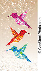 Colorful humming birds illustration - Trendy colorful...