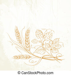 Golden wheat and hop on sepia. illustration.
