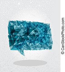Blue social bubble geometric shape.