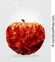 Red apple geometric shape.