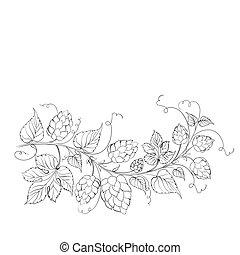Decorative hops garland.  illustration.