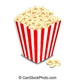 Box with popcorn, vector illustration