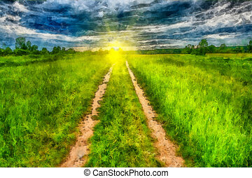 Sunny rural landscape with country road - This image was...