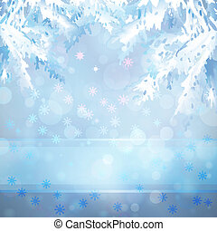 Christmas background with Christmas tree branches - Merry...