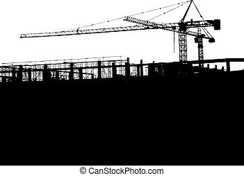 grues, vecteur,  silhouette
