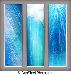 Blue rain banners Abstract water background design - Blue...