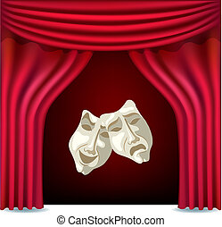 Theater curtains - Red opened theater curtain with masks