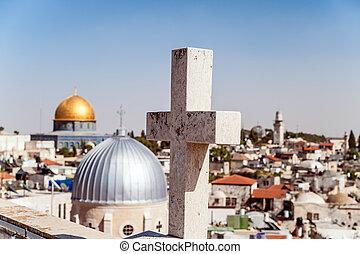 Jerusalem Old City - The cross on the background of...