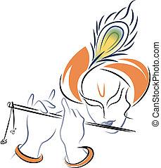 sri, krishna, tocando, Flauta