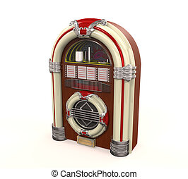 Juke Box Radio Isolated on white background 3D render
