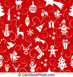 Merry Christmas icons seamless pattern.