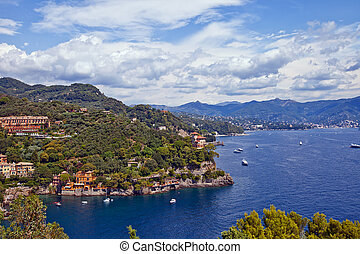 Summer view of Tigullio Gulf near Portofino, Italy -...