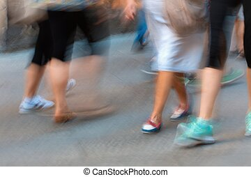movement of pedestrians on the sidewalk - fast moving crowd...