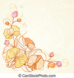 Sepia grunge background with orchid imprint.  Illustration.