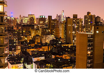 Aerial View at Night, New York City - New York City, Aerial...