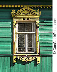 Window with carved platbands - Window with traditional...
