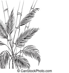Palm tree over bamboo forest, isolated on the white...