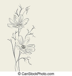 Flower over sepia background.  Illustration.