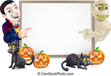 Halloween Sign with Mummy and Dracula - Halloween sign or...