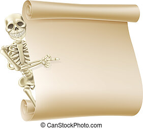 Halloween Skeleton Scroll - An illustration creepy skeleton...