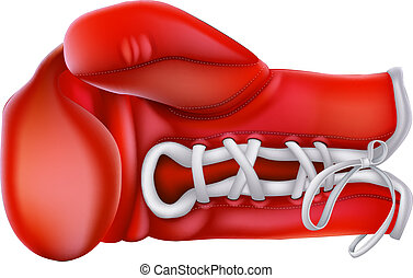 Boxing Glove - A detailed illustration of a red traditional...