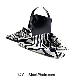 Fashionable scarf and a hand bag on white background