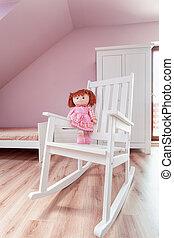 Urban apartment - doll on rocking chair - Urban apartment -...