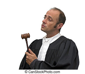 caucasian judge - judge with uniform over a white background...