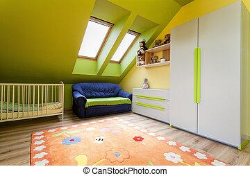 Urban, apartment, -, child's, room