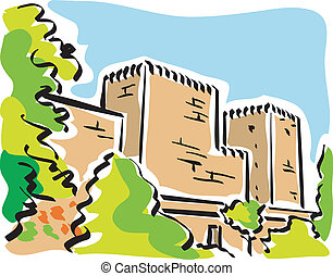 Granada Alhambra - illustration of Alhambra in Granada