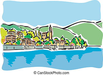 Lake Como - illustration of Lake Como