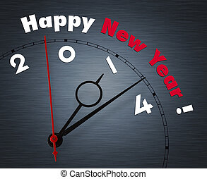 Clock with words Happy New year 2014