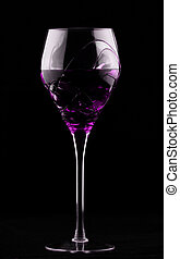 Wine glass with magenta potion