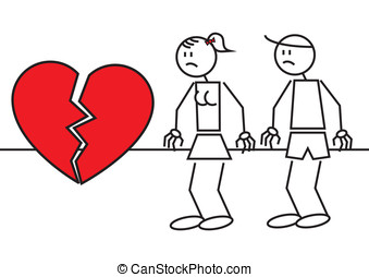 Stick figures heart break - Illustration of two stick...