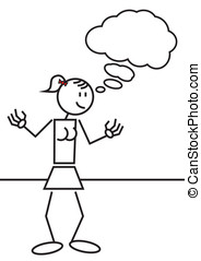 stick figure female thinking - Illustration of a stick...