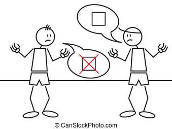 Stick figures controversy - Illustration of two stick...