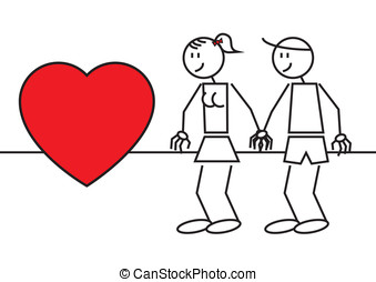 stick figures couple in love - Illustration of two stick...