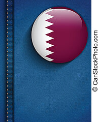Qatar Flag Button in Jeans Pocket Vector - Vector - Qatar...