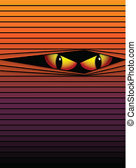 Halloween Background Scary Eyes Orange Vector - Vector...