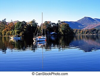 Derwent Water, Keswick, Cumbria. - Boats moored on Derwent...