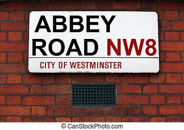 Abbey Road sign at recording studios made famous by the 1969...