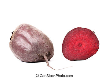 Fresh beetroot and slice - Fresh beetroot and slice isolated...